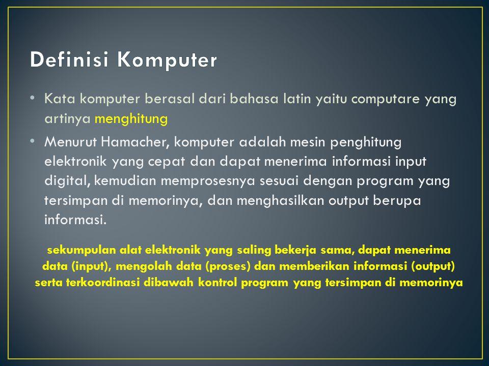 Kata komputer berasal dari bahasa latin yaitu computare yang artinya menghitung Menurut Hamacher, komputer adalah mesin penghitung elektronik yang cep