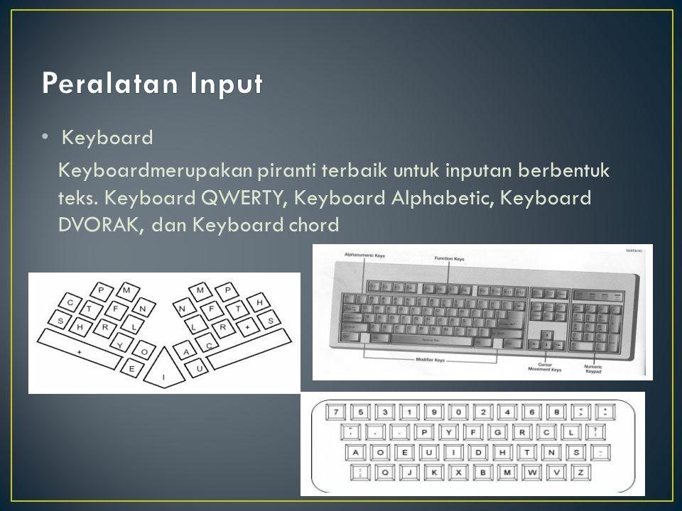 Keyboard Keyboardmerupakan piranti terbaik untuk inputan berbentuk teks. Keyboard QWERTY, Keyboard Alphabetic, Keyboard DVORAK, dan Keyboard chord