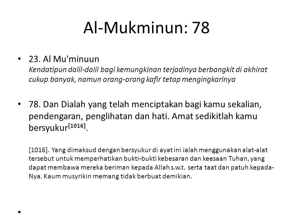 Al-Mukminun: 78 23. Al Mu'minuun Kendatipun dalil-dalil bagi kemungkinan terjadinya berbangkit di akhirat cukup banyak, namun orang-orang kafir tetap