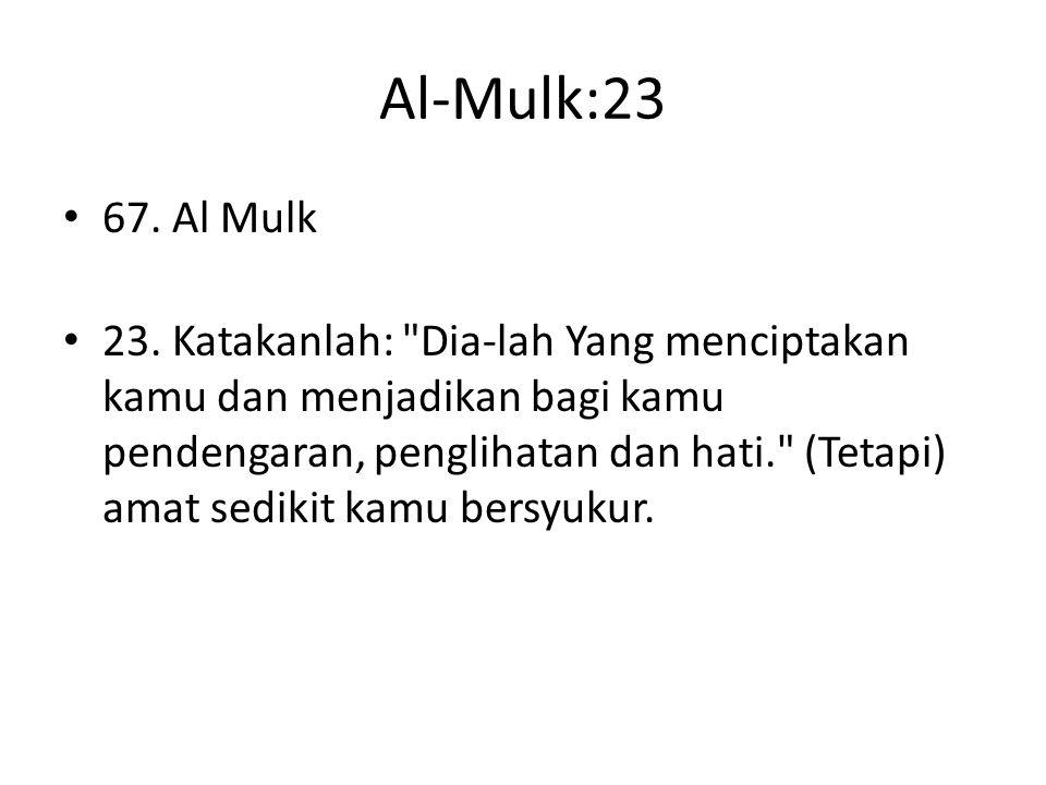 Al-Mulk:23 67. Al Mulk 23. Katakanlah: