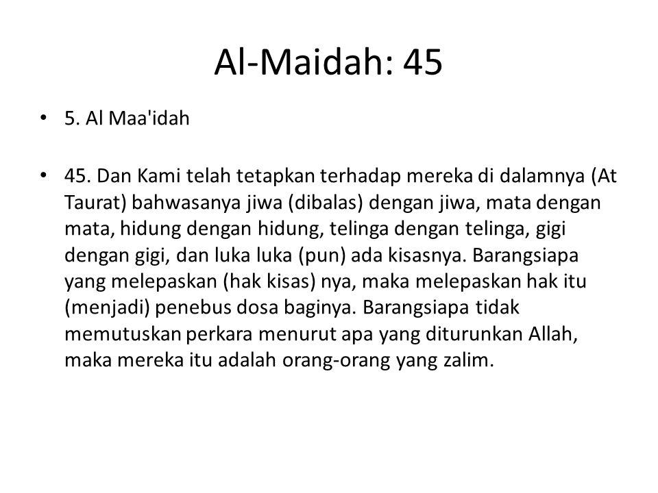 Al-Maidah: 45 5. Al Maa'idah 45. Dan Kami telah tetapkan terhadap mereka di dalamnya (At Taurat) bahwasanya jiwa (dibalas) dengan jiwa, mata dengan ma