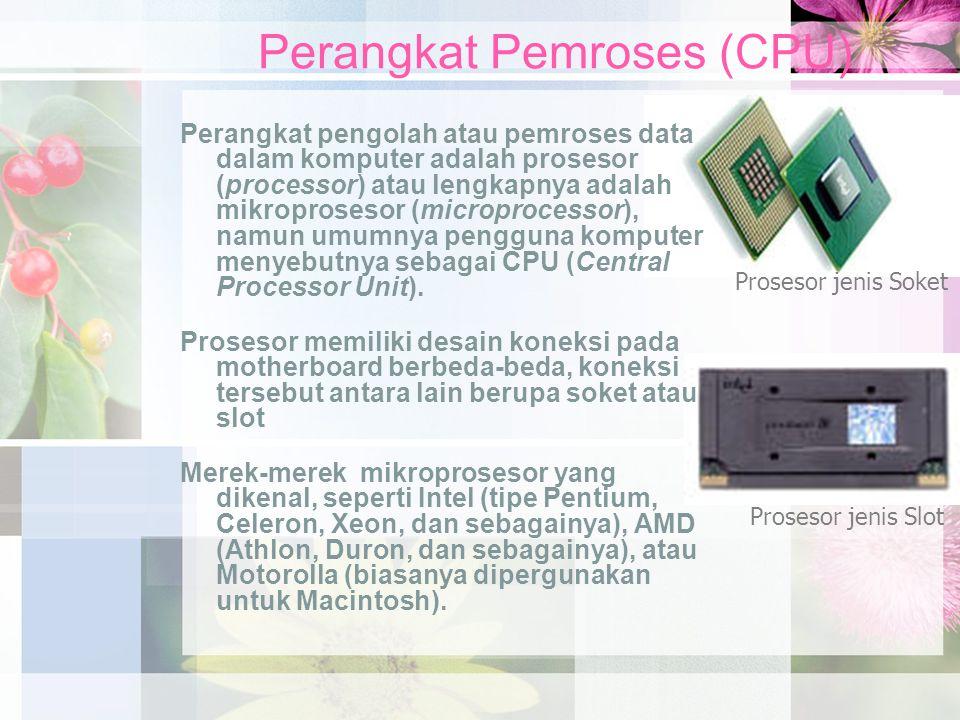 Perangkat Pemroses (CPU) Perangkat pengolah atau pemroses data dalam komputer adalah prosesor (processor) atau lengkapnya adalah mikroprosesor (microp