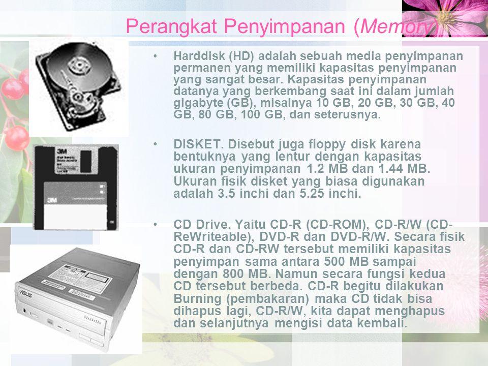 Perangkat Penyimpanan (Memory) Harddisk (HD) adalah sebuah media penyimpanan permanen yang memiliki kapasitas penyimpanan yang sangat besar. Kapasitas