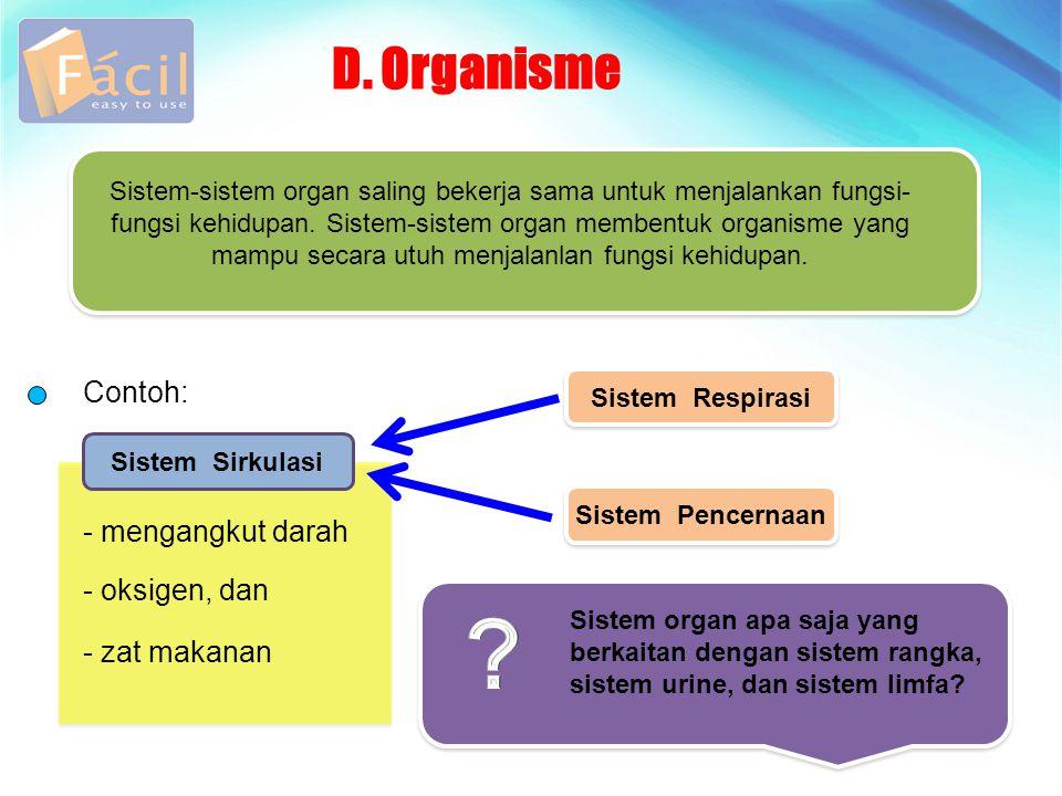 D. Organisme Contoh: Sistem-sistem organ saling bekerja sama untuk menjalankan fungsi- fungsi kehidupan. Sistem-sistem organ membentuk organisme yang