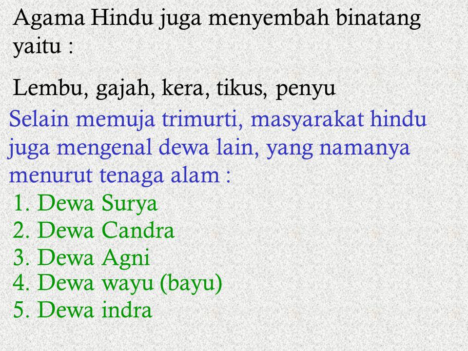 5. Dewa-dewa 1. Brahmana Kesatuan 3 dewa tertinggi (trimurti) dalam agama Hindu : 2. Wisnu (waisnawa) 3. Dewa Syiwa (Syiwaisme) Istri Syiwa = Parwati