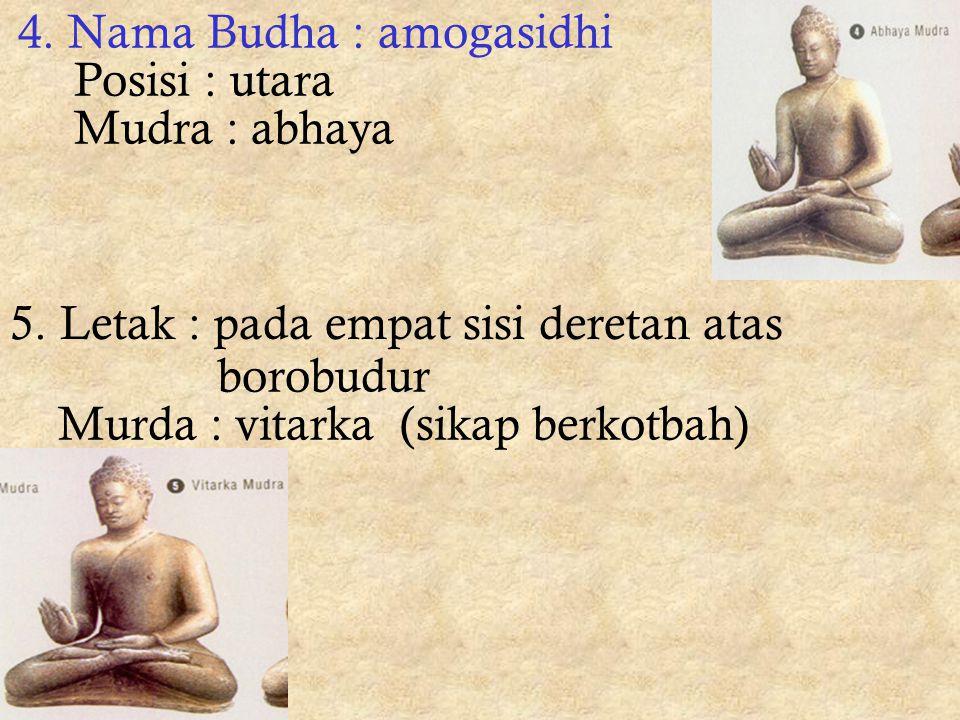 2. Nama Budha : ratnasambhawa Posisi : selatan Mudra : vara 3. Nama Budha : amithaba Posisi : barat Mudra : dhyana mudra (bersemedi)