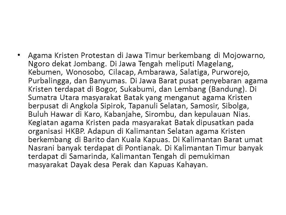 Agama Kristen Protestan di Jawa Timur berkembang di Mojowarno, Ngoro dekat Jombang. Di Jawa Tengah meliputi Magelang, Kebumen, Wonosobo, Cilacap, Amba