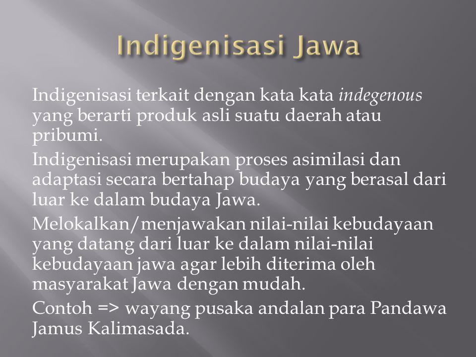 Indigenisasi terkait dengan kata kata indegenous yang berarti produk asli suatu daerah atau pribumi.
