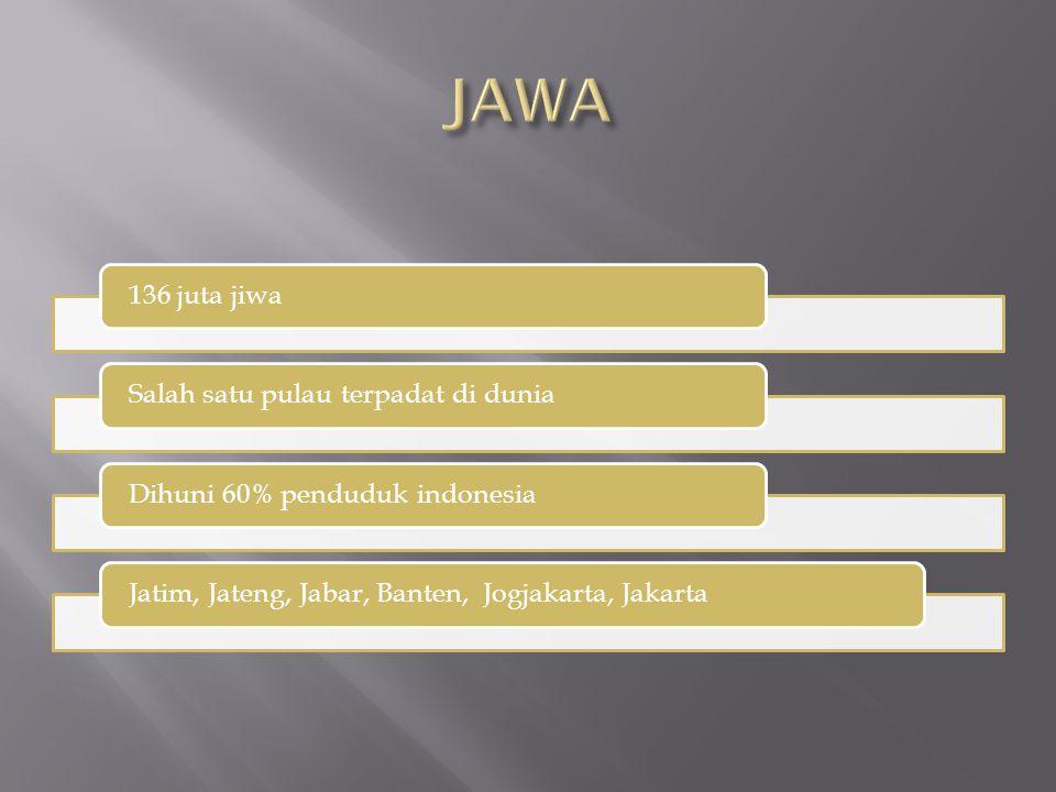 136 juta jiwaSalah satu pulau terpadat di duniaDihuni 60% penduduk indonesiaJatim, Jateng, Jabar, Banten, Jogjakarta, Jakarta