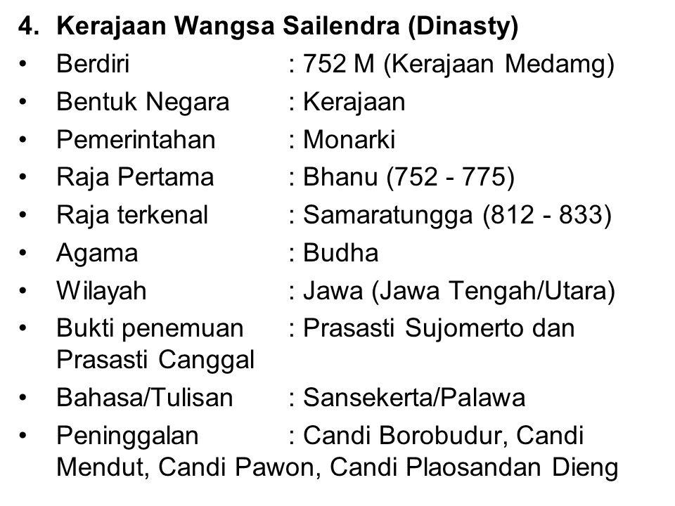 4.Kerajaan Wangsa Sailendra (Dinasty) Berdiri : 752 M (Kerajaan Medamg) Bentuk Negara: Kerajaan Pemerintahan : Monarki Raja Pertama : Bhanu (752 - 775