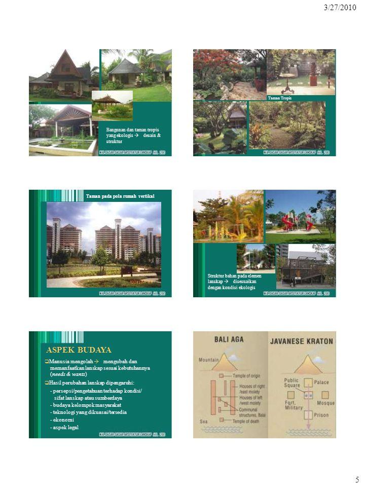 3/27/2010 5 Bangunan dan taman tropis yang ekologis  desain & struktur Taman Tropis Taman pada pola rumah vertikal Struktur bahan pada elemen lanska