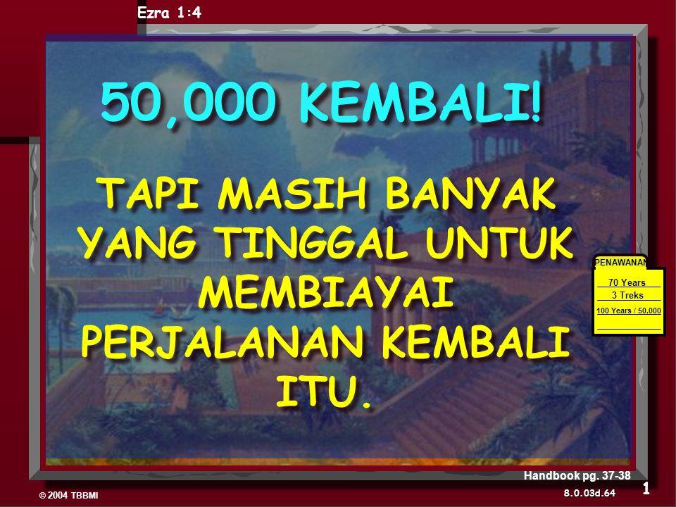 © 2004 TBBMI 8.0.03d. 50,000 KEMBALI! TAPI MASIH BANYAK YANG TINGGAL UNTUK MEMBIAYAI PERJALANAN KEMBALI ITU. PENAWANAN 70 Years 3 Treks 100 Years / 50