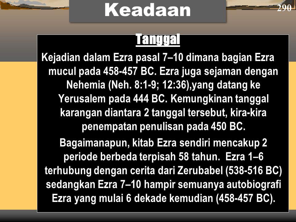 Tanggal Kejadian dalam Ezra pasal 7–10 dimana bagian Ezra mucul pada 458-457 BC. Ezra juga sejaman dengan Nehemia (Neh. 8:1-9; 12:36),yang datang ke Y
