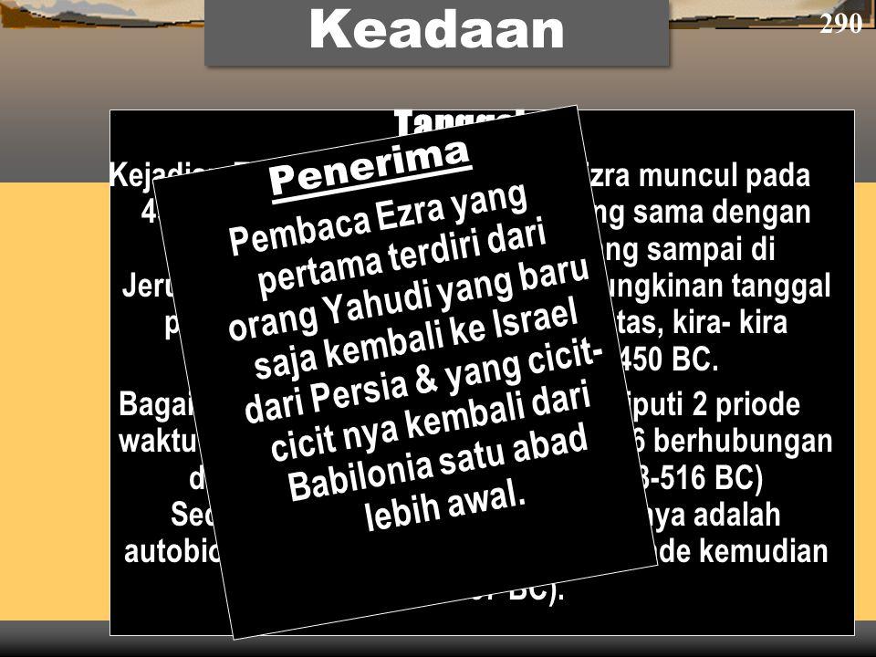 Tanggal Kejadian Ezra 7–10 dimana bagian Ezra muncul pada 458-457 BC. Ezra juga di jaman yang sama dengan Nehemiah (Neh. 8:1-9; 12:36), yang sampai di