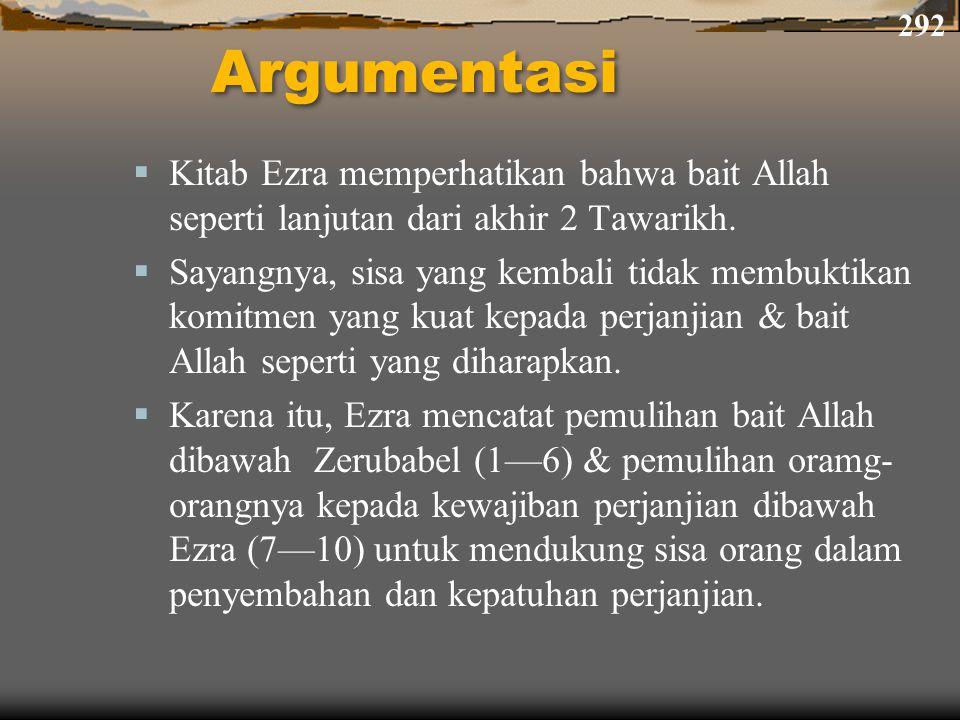 Argumentasi  Kitab Ezra memperhatikan bahwa bait Allah seperti lanjutan dari akhir 2 Tawarikh.  Sayangnya, sisa yang kembali tidak membuktikan komit