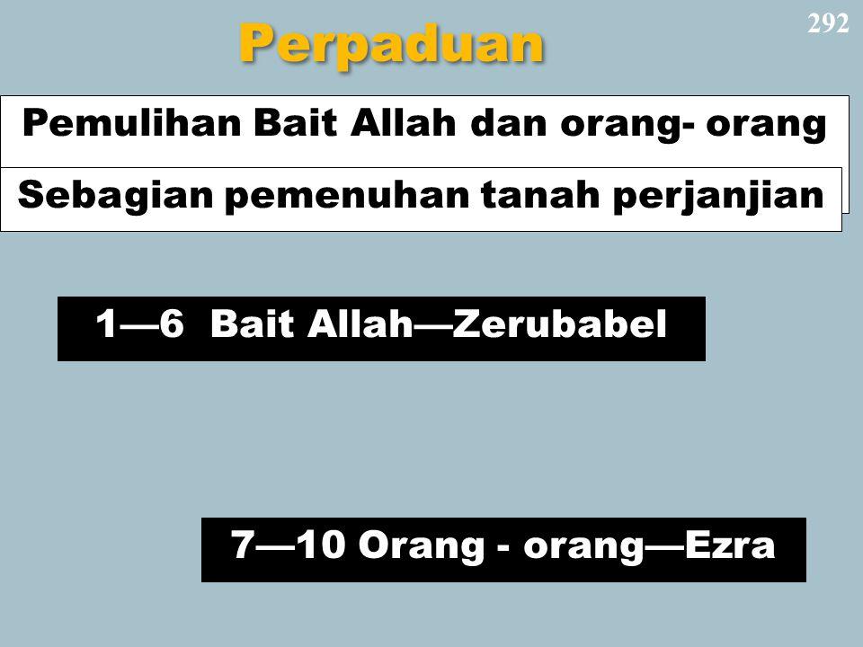 Perpaduan 292 1—6 Bait Allah—Zerubabel Pemulihan Bait Allah dan orang- orang 7—10 Orang - orang—Ezra Sebagian pemenuhan tanah perjanjian