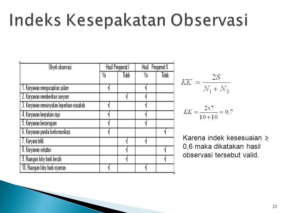 23 Karena indek kesesuaian  0,6 maka dikatakan hasil observasi tersebut valid.