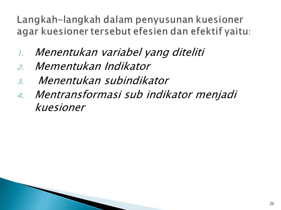 1. Menentukan variabel yang diteliti 2. Mementukan Indikator 3. Menentukan subindikator 4. Mentransformasi sub indikator menjadi kuesioner 26