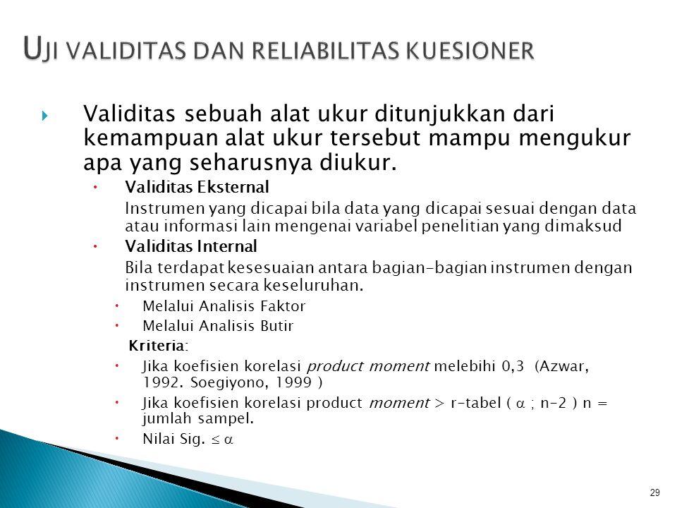  Validitas sebuah alat ukur ditunjukkan dari kemampuan alat ukur tersebut mampu mengukur apa yang seharusnya diukur.  Validitas Eksternal Instrumen