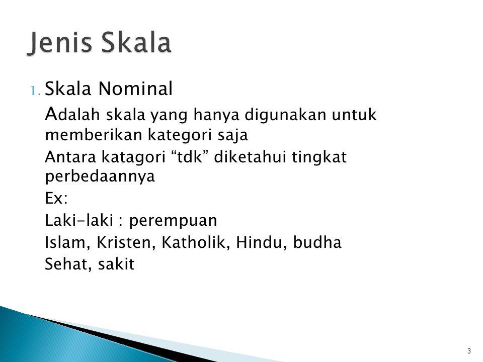 """1. Skala Nominal A dalah skala yang hanya digunakan untuk memberikan kategori saja Antara katagori """"tdk"""" diketahui tingkat perbedaannya Ex: Laki-laki"""
