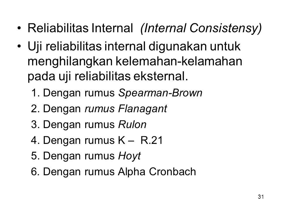 31 Reliabilitas Internal (Internal Consistensy) Uji reliabilitas internal digunakan untuk menghilangkan kelemahan-kelamahan pada uji reliabilitas ekst