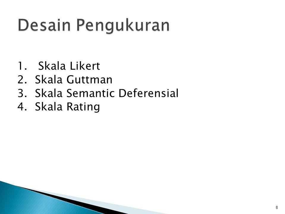  Skala Likert's digunakan untuk mengukur sikap, pendapat dan persepsi seseorang tentang fenomena sosial.