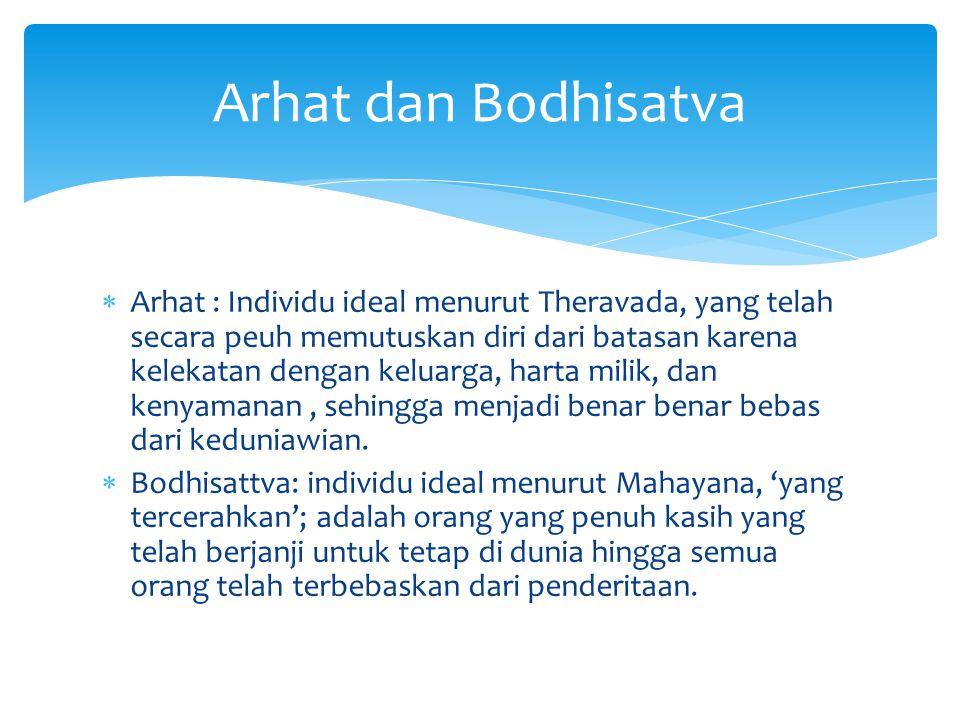  Arhat : Individu ideal menurut Theravada, yang telah secara peuh memutuskan diri dari batasan karena kelekatan dengan keluarga, harta milik, dan ken