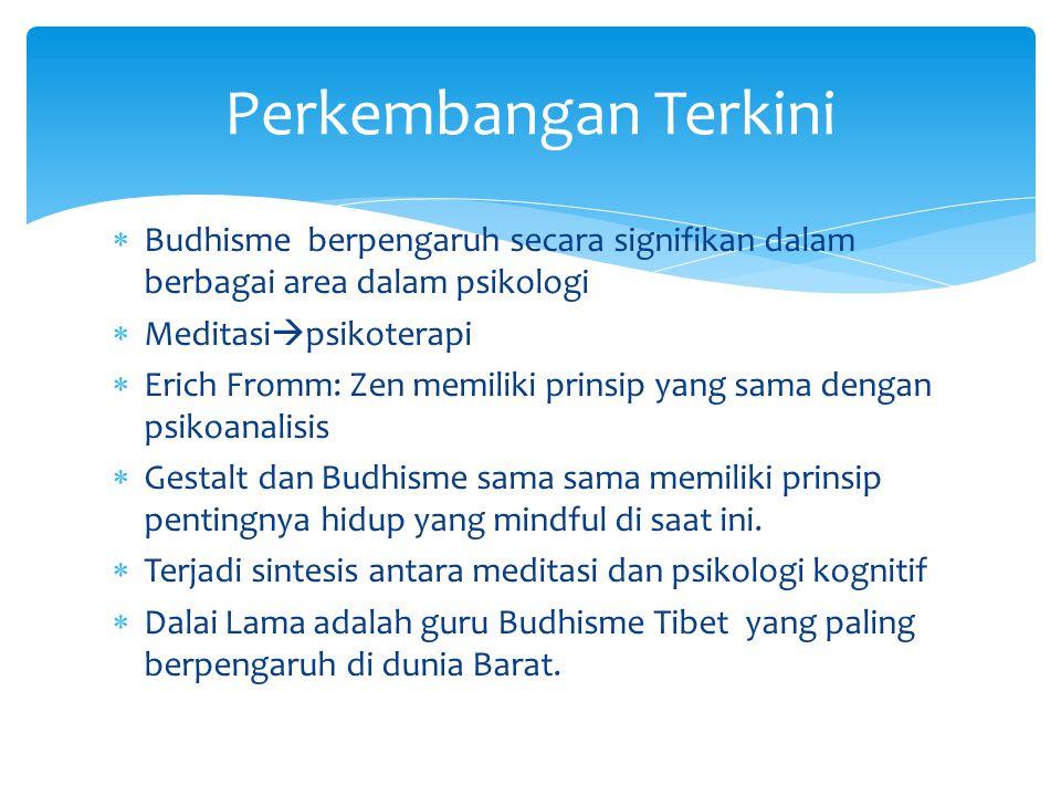  Budhisme berpengaruh secara signifikan dalam berbagai area dalam psikologi  Meditasi  psikoterapi  Erich Fromm: Zen memiliki prinsip yang sama de