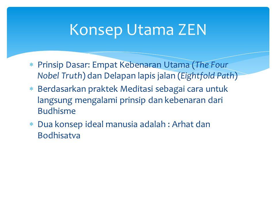  Prinsip Dasar: Empat Kebenaran Utama (The Four Nobel Truth) dan Delapan lapis jalan (Eightfold Path)  Berdasarkan praktek Meditasi sebagai cara unt