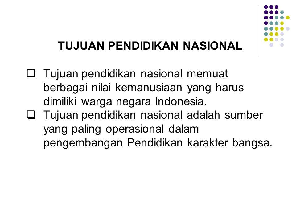 TUJUAN PENDIDIKAN NASIONAL  Tujuan pendidikan nasional memuat berbagai nilai kemanusiaan yang harus dimiliki warga negara Indonesia.