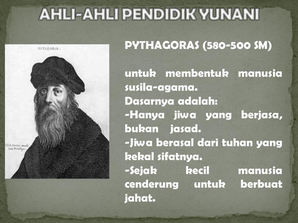 PYTHAGORAS (580-500 SM) untuk membentuk manusia susila-agama.