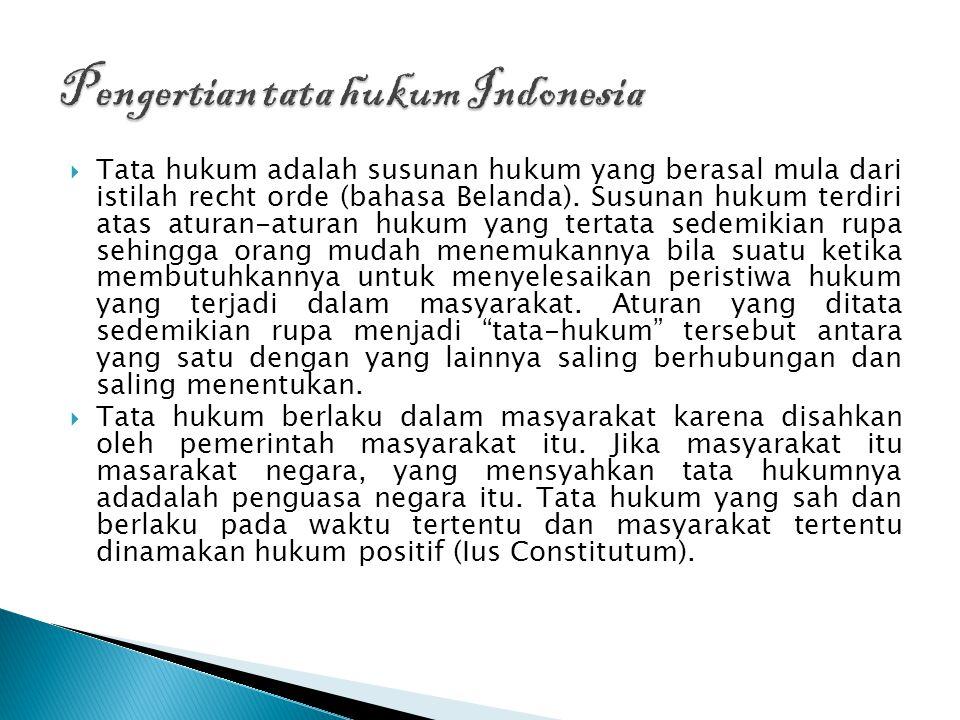  Pengertian : Tata Hukum adalah semua peraturan-peraturan hukum yang diadakan /diatur oleh negara atau bagian-bagiannya dan berlaku pada waktu itu di seluruh masyarakat dalam negara atau disebut juga ius constitutum.