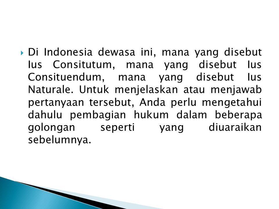  Tata hukum yang diharapkan berlaku pada masa yang akan datang dinamakan Ius Constituendum.