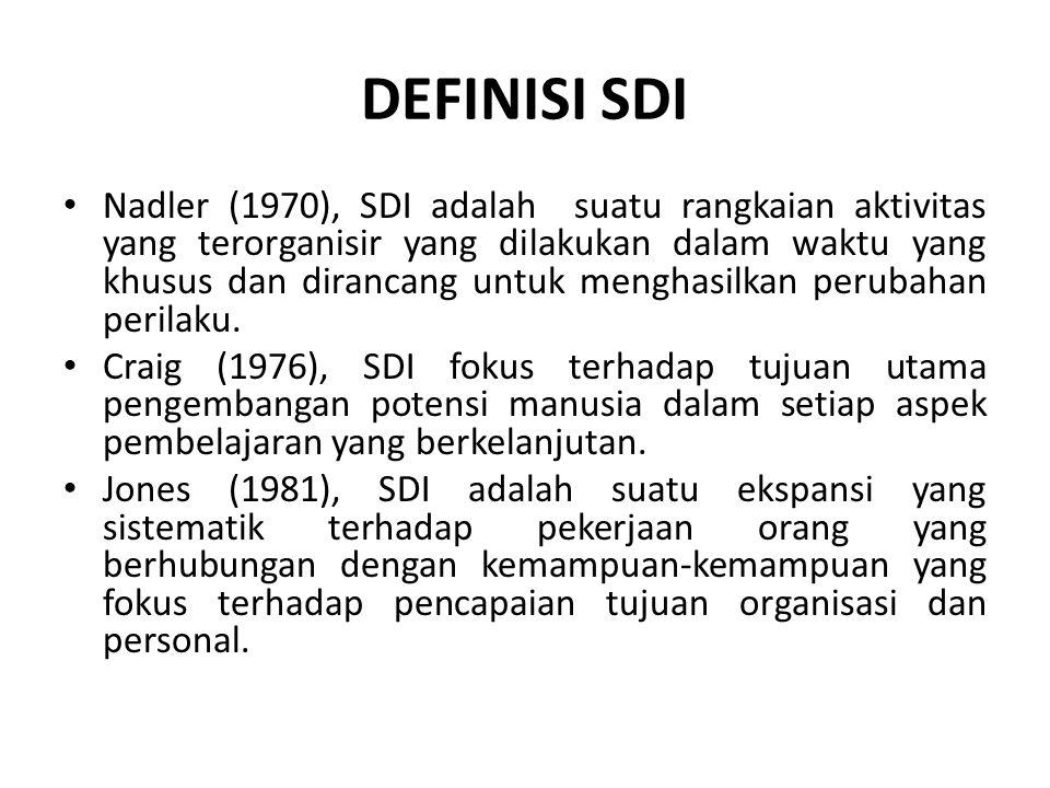 DEFINISI SDI Nadler (1970), SDI adalah suatu rangkaian aktivitas yang terorganisir yang dilakukan dalam waktu yang khusus dan dirancang untuk menghasilkan perubahan perilaku.