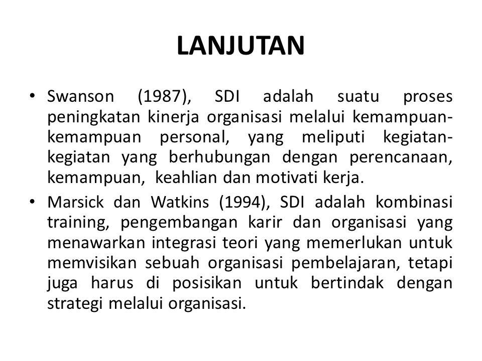 LANJUTAN Swanson (1987), SDI adalah suatu proses peningkatan kinerja organisasi melalui kemampuan- kemampuan personal, yang meliputi kegiatan- kegiatan yang berhubungan dengan perencanaan, kemampuan, keahlian dan motivati kerja.