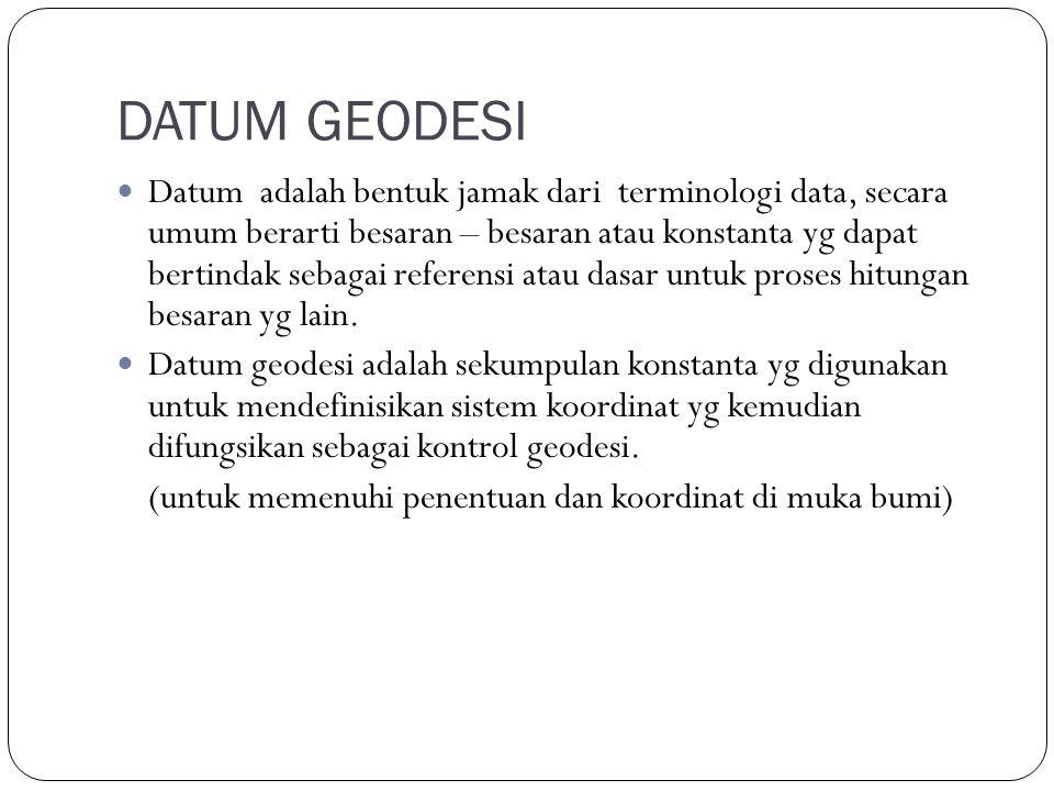 DATUM GEODESI Datum adalah bentuk jamak dari terminologi data, secara umum berarti besaran – besaran atau konstanta yg dapat bertindak sebagai referensi atau dasar untuk proses hitungan besaran yg lain.