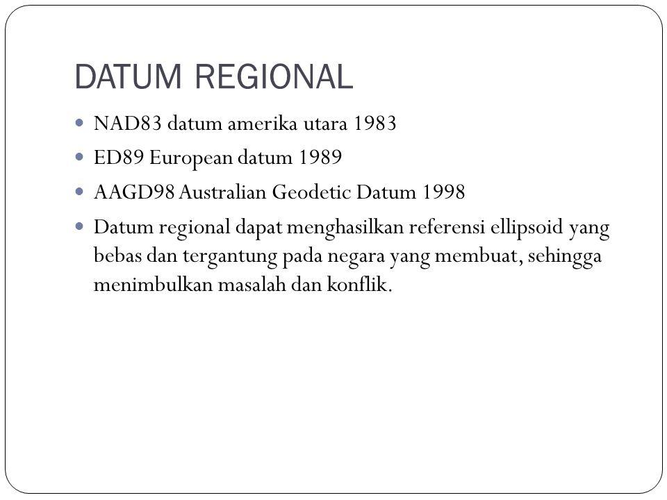 DATUM REGIONAL NAD83 datum amerika utara 1983 ED89 European datum 1989 AAGD98 Australian Geodetic Datum 1998 Datum regional dapat menghasilkan referensi ellipsoid yang bebas dan tergantung pada negara yang membuat, sehingga menimbulkan masalah dan konflik.