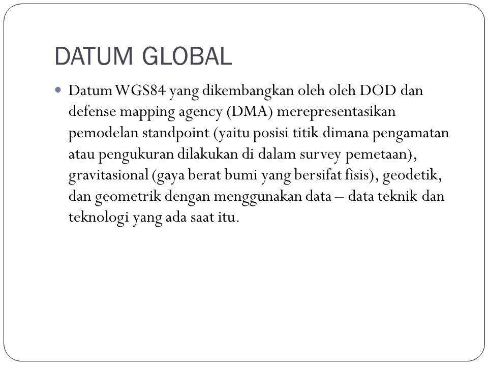 DATUM GLOBAL Datum WGS84 yang dikembangkan oleh oleh DOD dan defense mapping agency (DMA) merepresentasikan pemodelan standpoint (yaitu posisi titik dimana pengamatan atau pengukuran dilakukan di dalam survey pemetaan), gravitasional (gaya berat bumi yang bersifat fisis), geodetik, dan geometrik dengan menggunakan data – data teknik dan teknologi yang ada saat itu.