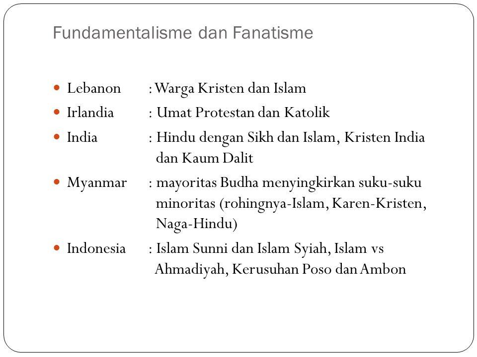 Fundamentalisme dan Fanatisme Lebanon: Warga Kristen dan Islam Irlandia: Umat Protestan dan Katolik India: Hindu dengan Sikh dan Islam, Kristen India