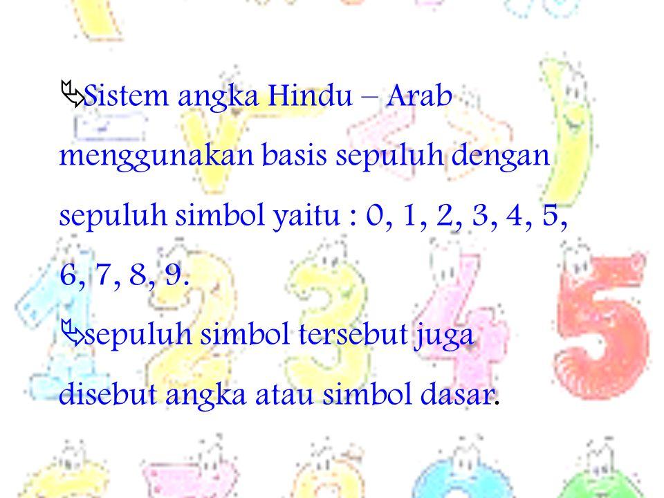  Sistem angka Hindu – Arab menggunakan basis sepuluh dengan sepuluh simbol yaitu : 0, 1, 2, 3, 4, 5, 6, 7, 8, 9.  sepuluh simbol tersebut juga diseb