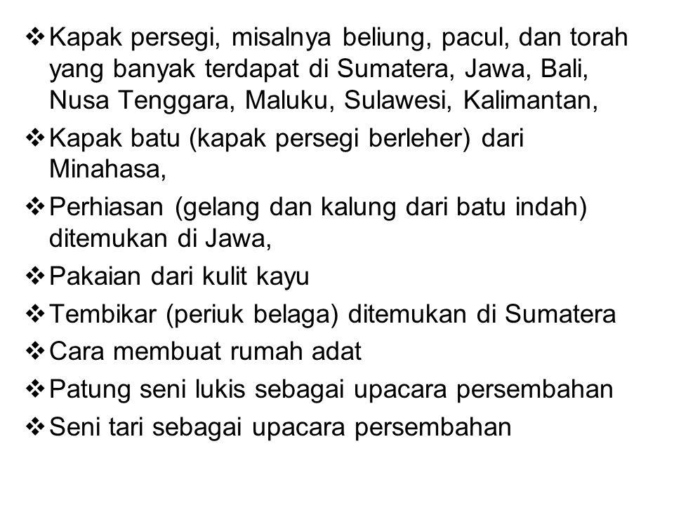  Kapak persegi, misalnya beliung, pacul, dan torah yang banyak terdapat di Sumatera, Jawa, Bali, Nusa Tenggara, Maluku, Sulawesi, Kalimantan,  Kapak