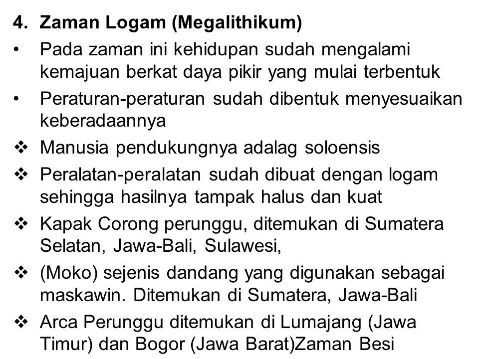 4.Zaman Logam (Megalithikum) Pada zaman ini kehidupan sudah mengalami kemajuan berkat daya pikir yang mulai terbentuk Peraturan-peraturan sudah dibent