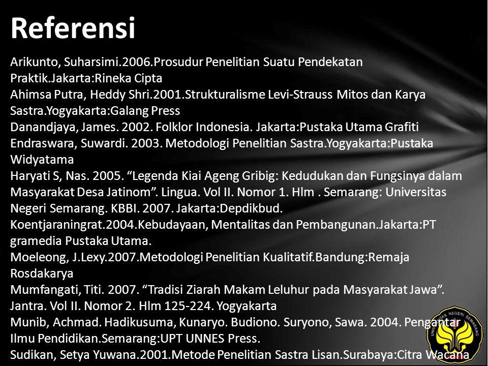 Referensi Arikunto, Suharsimi.2006.Prosudur Penelitian Suatu Pendekatan Praktik.Jakarta:Rineka Cipta Ahimsa Putra, Heddy Shri.2001.Strukturalisme Levi