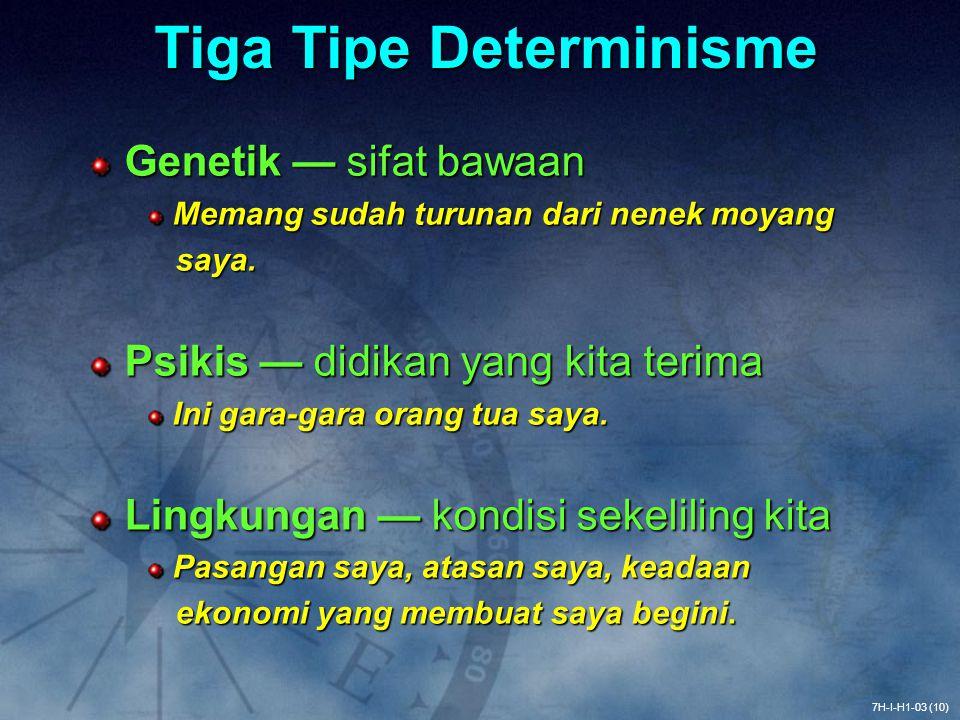 Tiga Tipe Determinisme Genetik — sifat bawaan Memang sudah turunan dari nenek moyang Memang sudah turunan dari nenek moyang saya. saya. Psikis — didik