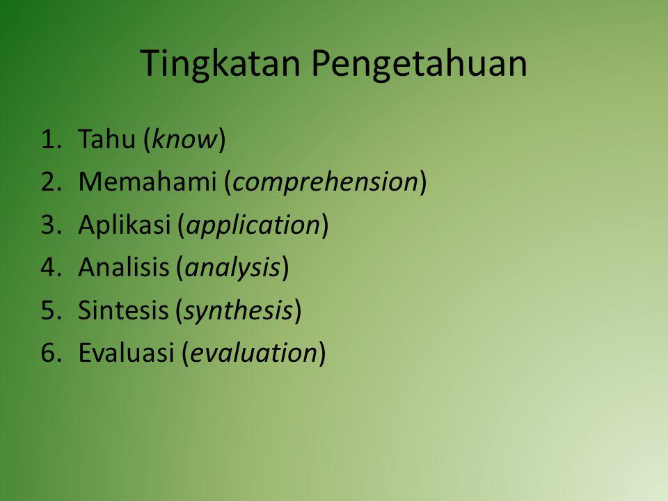 Tingkatan Pengetahuan 1.Tahu (know) 2.Memahami (comprehension) 3.Aplikasi (application) 4.Analisis (analysis) 5.Sintesis (synthesis) 6.Evaluasi (evaluation)