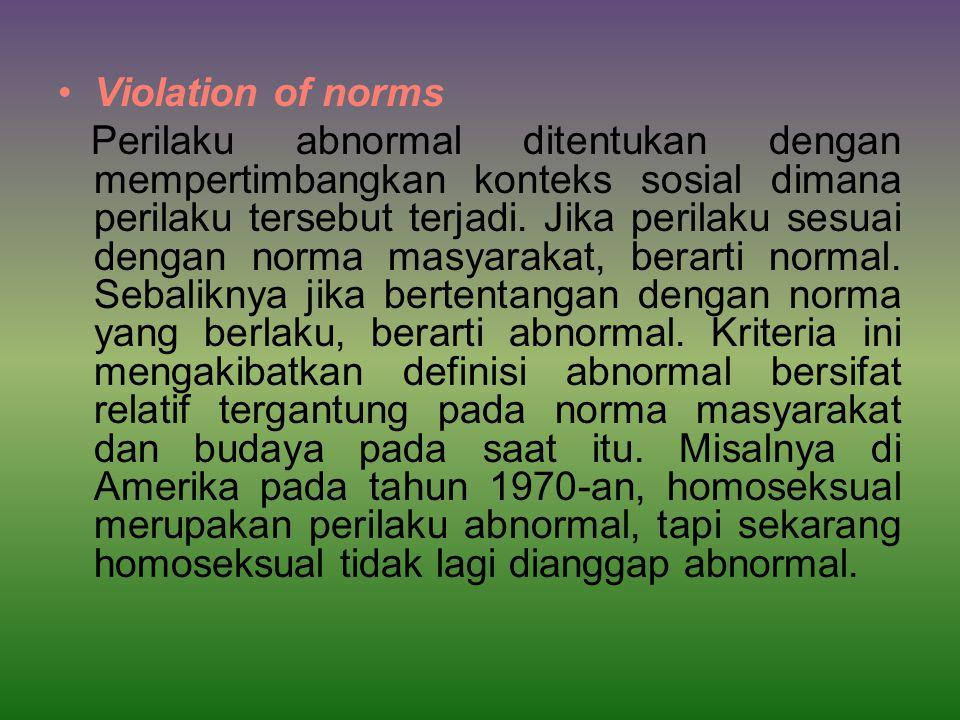 Violation of norms Perilaku abnormal ditentukan dengan mempertimbangkan konteks sosial dimana perilaku tersebut terjadi.