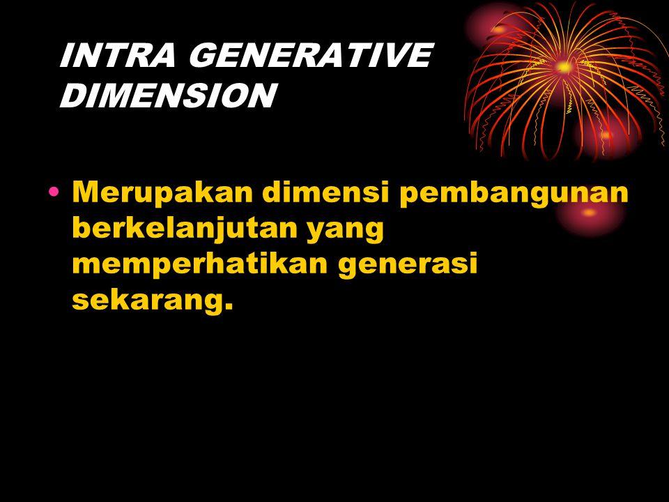 INTRA GENERATIVE DIMENSION Merupakan dimensi pembangunan berkelanjutan yang memperhatikan generasi sekarang.