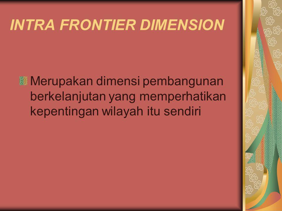 INTRA FRONTIER DIMENSION Merupakan dimensi pembangunan berkelanjutan yang memperhatikan kepentingan wilayah itu sendiri