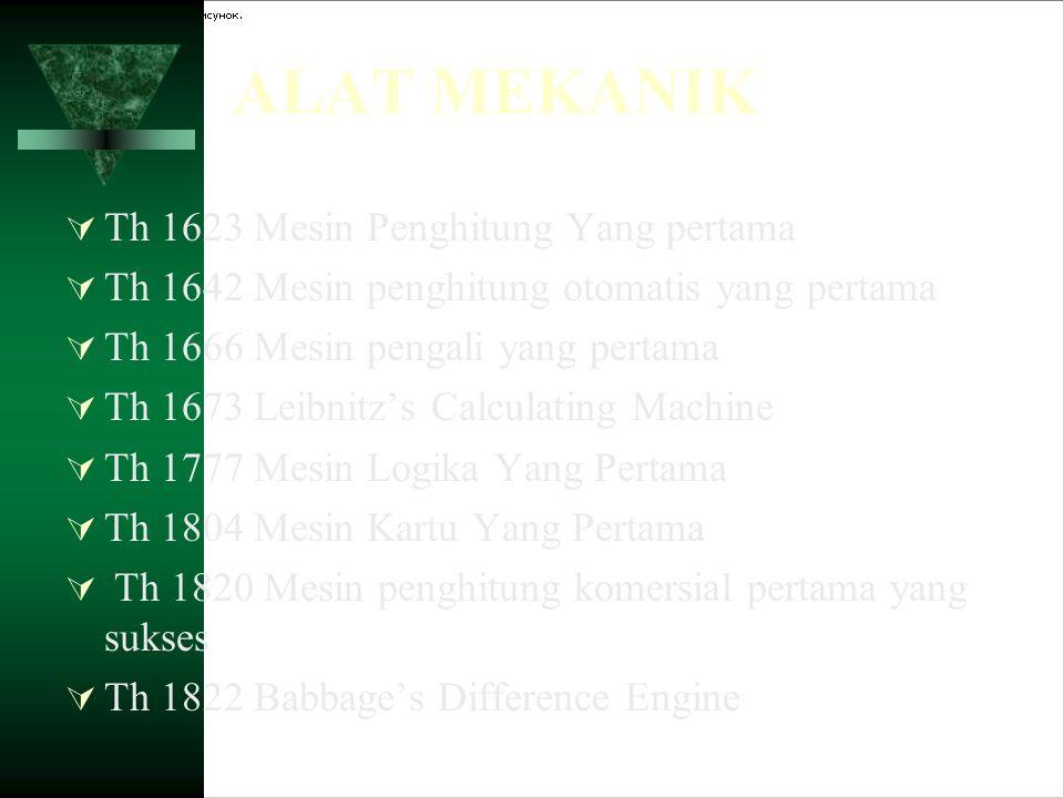 ALAT MEKANIK  Th 1623 Mesin Penghitung Yang pertama  Th 1642 Mesin penghitung otomatis yang pertama  Th 1666 Mesin pengali yang pertama  Th 1673 L