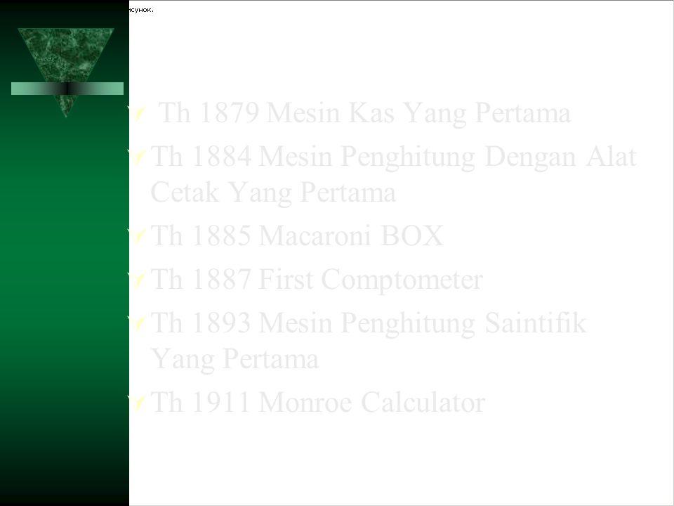  Th 1879 Mesin Kas Yang Pertama  Th 1884 Mesin Penghitung Dengan Alat Cetak Yang Pertama  Th 1885 Macaroni BOX  Th 1887 First Comptometer  Th 189